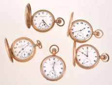 A collection of four gold pated full hunter keyless wind pocket watches