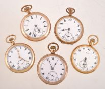 A collection of five gold plated open face keyless wind pocket watches