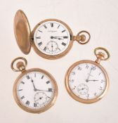 Elgin,Gold plated full hunter keyless wind pocket watch