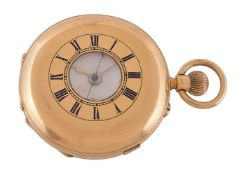 Victor Levy & Co.,18 carat gold half hunter keyless wind chronograph pocket watch