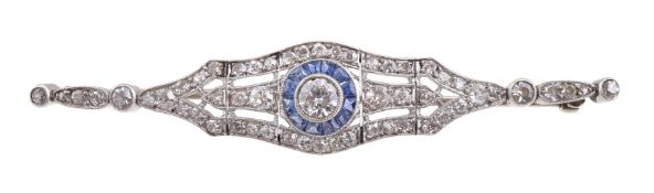 An early 20th century converted diamond and sapphire brooch