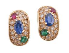 A pair of multi gem earrings