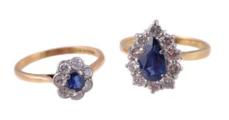 An 18 carat gold sapphire and diamond ring