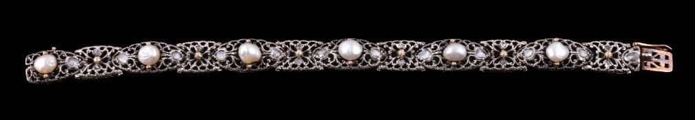 A mid 20th century pearl and diamond bracelet
