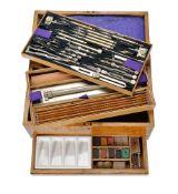 ϒ A substantial late Victorian oak magazine of draughtsman's drawing instruments