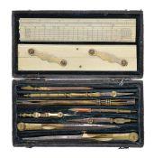 ϒ A George III shagreen cased set of drawing instruments