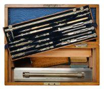 ϒ A late Victorian oak magazine of draughtsman's drawing instruments