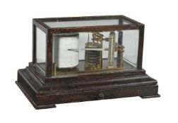 An ebonised barograph with thermometer