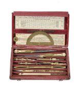 ϒ A Regency cased set of drawing instruments