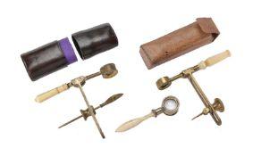 ϒ An English lacquered brass and ivory W. and S. Jones pattern portable compass microscope