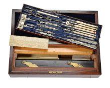 ϒ A late Victorian rosewood magazine of draughtsman's drawing instruments