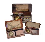 Two Victorian mahogany cased sets of portable diamond scales