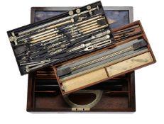 ϒ A fine Victorian rosewood magazine of draughtsman's drawing instruments