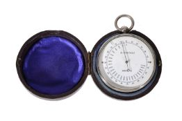 A rare Swiss electroplated aneroid pocket barometer compendium with altimeter