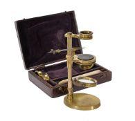 ϒ An English lacquered brass portable aquatic microscope