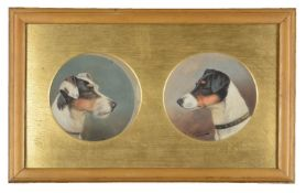 John Arnold Alfred Wheeler (British 1821-1903)Two tondo head studies of terriers, framed as one
