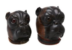 Two French carved and partially stained wood ink stands modelled as bulldogs' heads