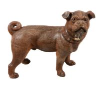 An Austrian painted terracotta model of a standing pug