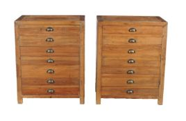 A pair of softwood side cabinets