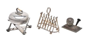 ϒ An electro-plated six division cricket toast rack