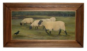 Gentian Lulanaj (Albanian b.1972)Sheep grazing with a single magpie Oil on board Signed lower right