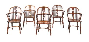 A harlequin set of eight Windsor armchairs