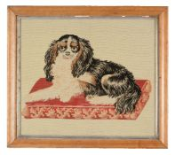 Four Victorian 'Berlin' woolwork pictures of animals
