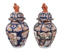 A pair of Japanese Imari porcelain vases