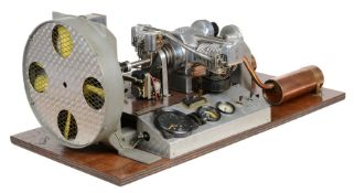 An exhibition standard ½ size working model of a 'Flat Two' Internal combustion engine