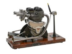 A gold medal winning ½ size working model of a Matchless G45 twin cylinder motor cycle engine