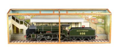 An exhibition standard 3 ½ inch gauge model of a Southern Class V Schools 4-6-0 tender locomotive No