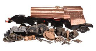 A part built 5 inch gauge model of a Merchant Navy Class tender locomotive