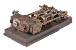 A Late Victorian twin simple horizontal live steam engine