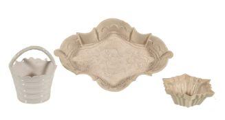 Three items of Staffordshire salt-glazed stoneware
