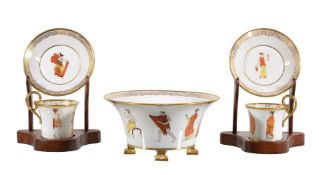 A pair of Paris porcelain (Dagoty and Honoré) Etruscan manner coffee cups and saucers