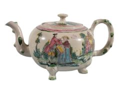 A Staffordshire salt-glazed stoneware teapot and cover