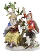 A Meissen group of a shepherdess musician and companion