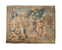 A Flemish woven wool figural tapestry