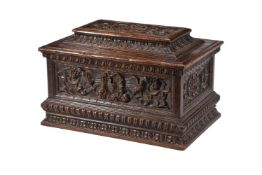 An Italian, likely Sienese, carved walnut box or small cassone