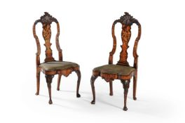 A pair of Dutch walnut, elm and marquetry side chairs