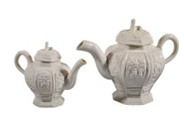 A Staffordshire saltglazed stoneware cast octagonal section teapot and cover of Thomas Wedgwood IV t