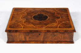 A William & Mary walnut and olivewood oyster veneered box