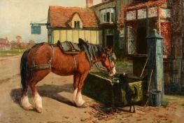 Arthur William Redgate (British 1860-1906)Farm horse at a trough before a tavern