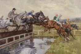 λ Peter Biegel (British 1913-1988), The water, Mackeson Gold Cup, Cheltenham 1964