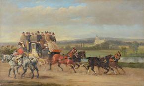 Alfred Frank de Prades (British 1840-1895)Coaching scene