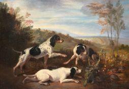 Follower of Charles Henry Schwanfelder (British 1774-1837)Three spaniels hunting partridge