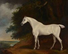 Attributed to David Dalby of York (British fl.1794-1836)Grey stallion in a landscape