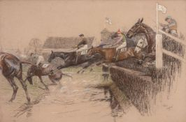 Cecil Charles Windsor Aldin (British 1870-1935)The water jump