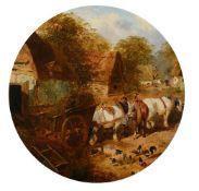 John Frederick Herring Junior (British 1820-1907) Horse and haycart outside farm buildings