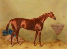 Harry Hall (British 1816-1882)A racehorse in a stable